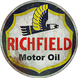 Old Vintage Richfield Motor Oil Sign Round 14