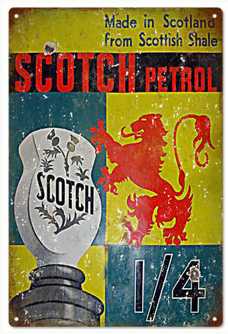 Vintage Scotch Petrol Gasoline Sign