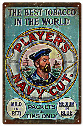 Vintage Players Navy Cut Cigar Sign