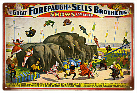 Vintage Forepaugh And SellsBrothers Circus Sign