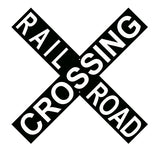 Black With White Cross Buck Railroad Sign