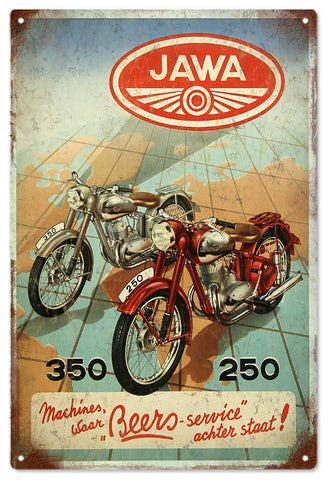 Vintage Jawa Motorcycle Sign