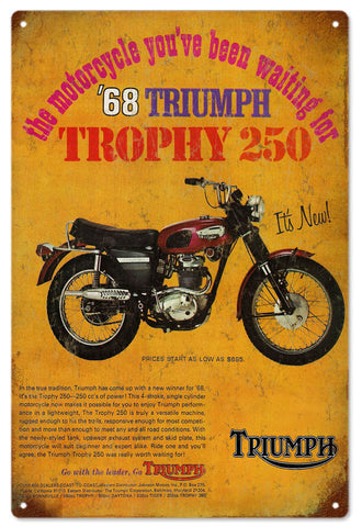 Vintage 68 Triumph Motorcycle Sign