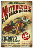 Vintage Motorcycle Flat Track Races Sign