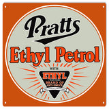 Pratts Ethyl Petro Gasoline Sign 12x12