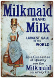 Vintage Milkmaid Brand Milk Country Sign