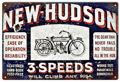 Vintage New Hudson Bicycle Sign