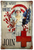 Vintage The Spirit Of America Red Cross Sign