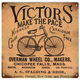 Vintage Victors Make The Pace Bicycle Sign 12x12