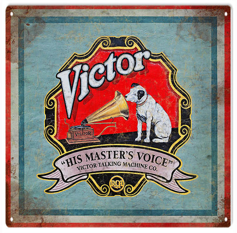 Vintage Victor His Masters Voice Sign 12x12
