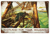 Vintage Scotland For Your Holidays Railroad Sign