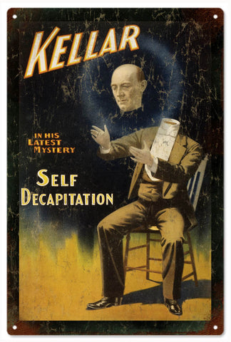 Vintage Kellar Decapitation Magician Sign