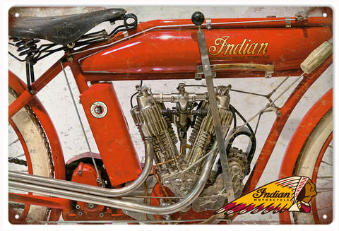 Vintage Indian Motorcycle Engine Sign