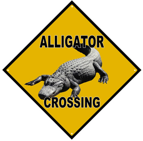 Alligator Crossing Sign 12x12