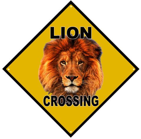 Lion Crossing Sign 12x12
