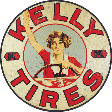 Vintage Kelly Tire Sign 14 Round