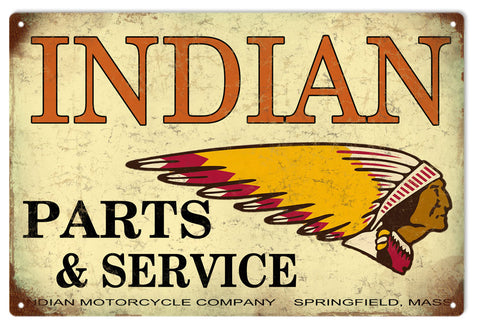 Vintage Indian Parts And Service Sign
