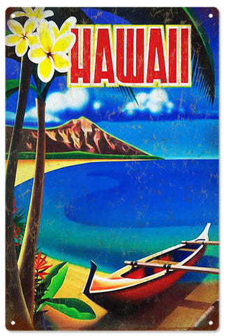 Vintage Old Hawaiian Waikiki Sign