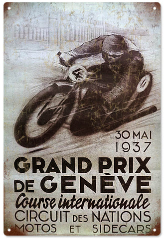 Vintage Grand Prix Motorcycle Sign