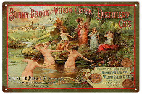 Vintage Sunny Brook And Willow Creek Distillery Sign