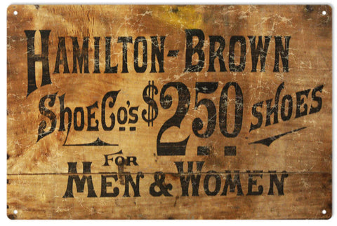 Vintage Hamilton Brown Shoe Sign