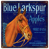 Vintage Blue Larkspur Apples Sign 12x12