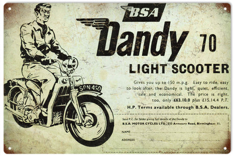 Vintage Dandy BSA Scooter Sign