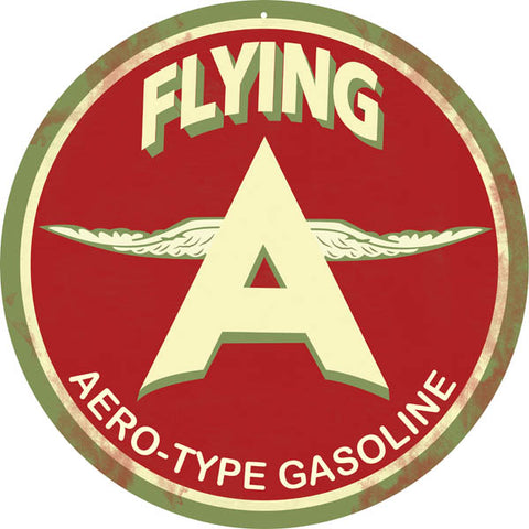 Slightly Vintage Flying Gasoline Sign 14 Round