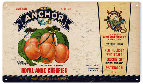 Vintage Anchor Cherries Sign
