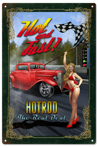 Vintage Hot And Fast Hod Rod Pin Up Girl Sign 16x24
