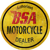 Vintage BSA Motorcycle Sign 14 Round