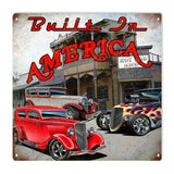 Vintage Built In America Hot Rod Sign 12x12
