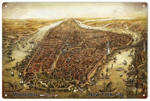 Old Vintage Map Of Manhattan New York Sign