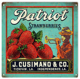Vintage Patriot Strawberries Sign 12x12
