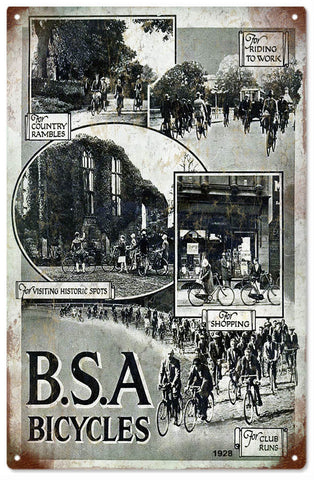 Vintage BSA Bicycle Sign 8x14