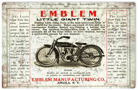 Vintage Emblem Motorcycle Sign