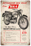 Vintage BSA Bantam Motorcycle Sign 8x14