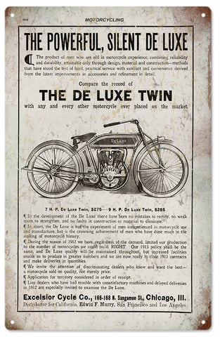 Vintage De Luxe Twin Motorcycle Sign