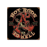 Hot Rods to Hell Metal Sign Wall Decor 12 x 12