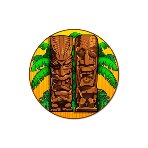 Tikis Round Metal Sign Wall Decor 14 x 14