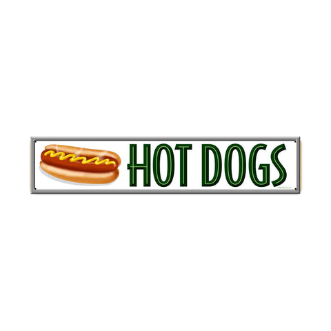 Hot Dogs Metal Sign Wall Decor 28 x 6