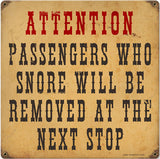 Vintage Passengers Who Snore Railroad Sign 12x12