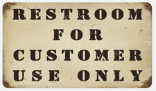 RR-131 Restrooms For Customer Only Sign