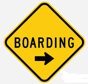 RR-5 Boarding Sign-Points to right Railroad Sign