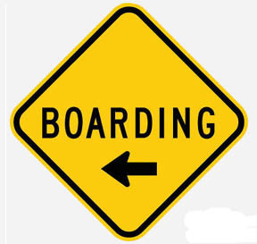 RR-6 Boarding- To Left Railroad Sign