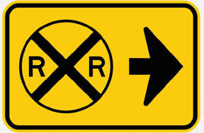 RR-7 R R Sign -points to the Right Railroad Sign