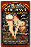 Vintage Greased Lightning Express Garage Pin Up Girl Sign