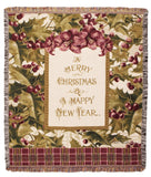 Merry Christmas Holly Tapestry Throw