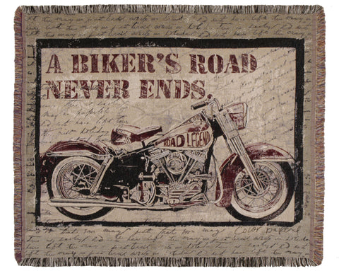A Bikers Road Tapestry Throw