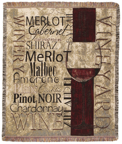 Vineyards & Wineries 50 X 60 Tapestry Throw